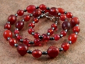 Gray Hematite Gemstone Red Glass Beaded Necklace