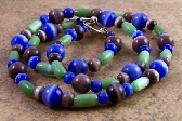 Purple Blue Green Cats Eye Glass Beaded Necklace