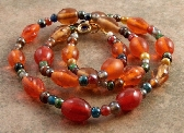 Blue Orange Green Glass Beaded Necklace