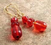 Gold Red Glass Beaded Earrings