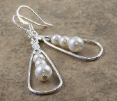 White Glass Beaded Earrings Silver Plated Tear Drop Dangles