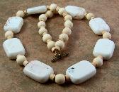White Tan Wood White Howlite Gemstone Beaded Necklace
