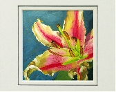 Floral art print from an original oil painting in 8x10 double mat Celebration Lily