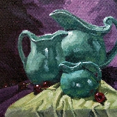 Large still life giclee on canvas print with gallery wrap 24x24 from an original oil painting Mood Indigo