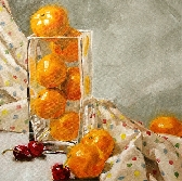 Still life giclee on canvas print with gallery wrap 20x20 from an original oil painting Orange High Rise