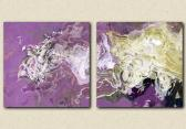 Diptych abstract giclee on canvas 24x48 Ice Dragon