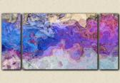 Triptych abstract art canvas print 30x60 in purple and blue Lavender Blue