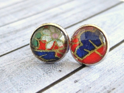 Glass dome earrings with Japanese Washi Paper