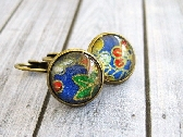 Glass Cabochon Earrings Japanese Yuzen Earrings