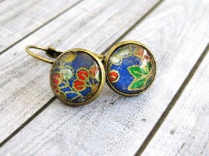 Glass Cabochon Earrings Japanese Yuzen Earrings