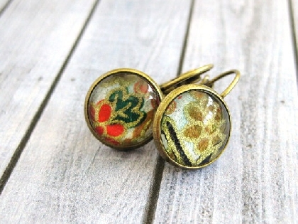 Japanese Washi Paper Glass Cab Earrings