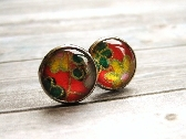 Japanese Washi Yuzen Glass Cab Earrings
