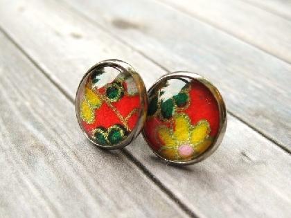 Japanese Washi Yuzen Glass Cab Earrings