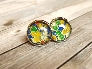 Glass Cabochon Earrings with Japanese Washi Yuzen Paper