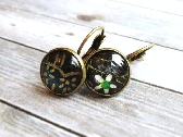 Glass dome earrings with Japanese Washi paper in Dark Blue and Black