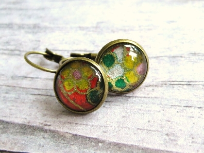 Japanese Paper Glass Cabochon Earrings