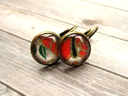 Glass Cabochon Earrings in Red