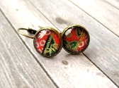 Glass cabochon earrings with Japanese Yuzen Washi paper