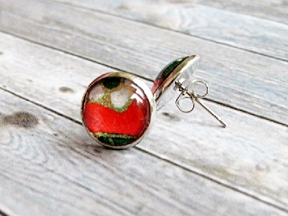 Japanese Paper Glass Dome Earrings