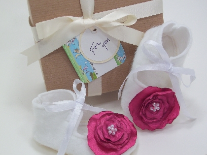 Baby Booties Custom Color Satin Flower with Gift Box