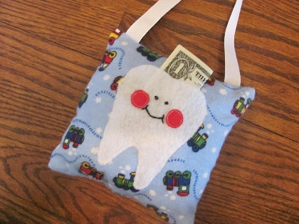 Blue Train Tooth Fairy Pillow