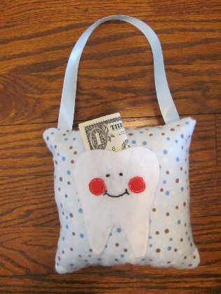 Blue Polka Dot Tooth Fairy Pillow