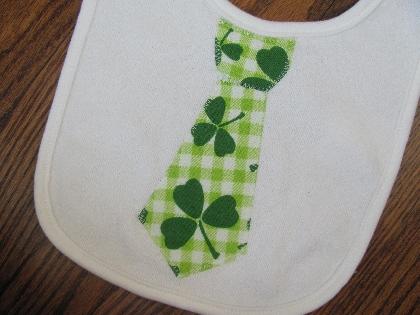 St Patricks Day Tie Applique Bib