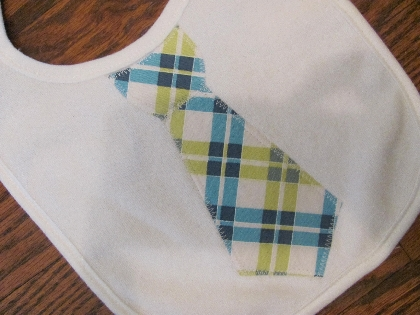Blue Plaid Tie Applique Bib