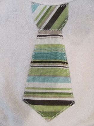 Blue and Green Stripe Tie Applique Bib