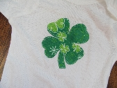 St Patricks Day Four Leaf Clover Applique Onesie