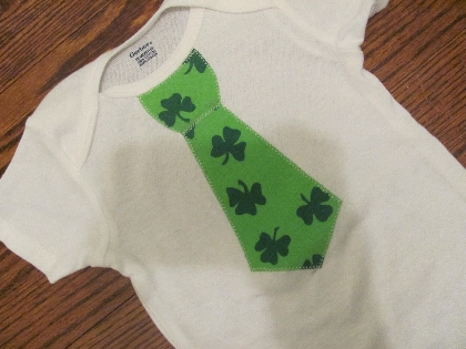 St Patricks Day Tie Applique Onesie