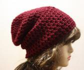 Slouchy Beanie Crochet Tam Burgundy