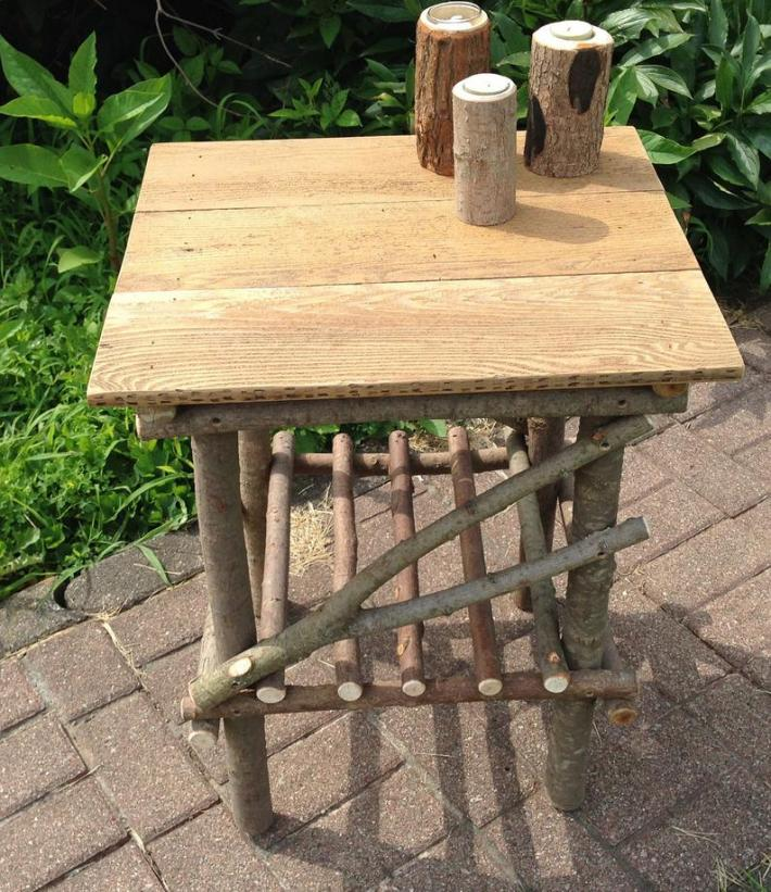 Rustic Plank Top Twig Table
