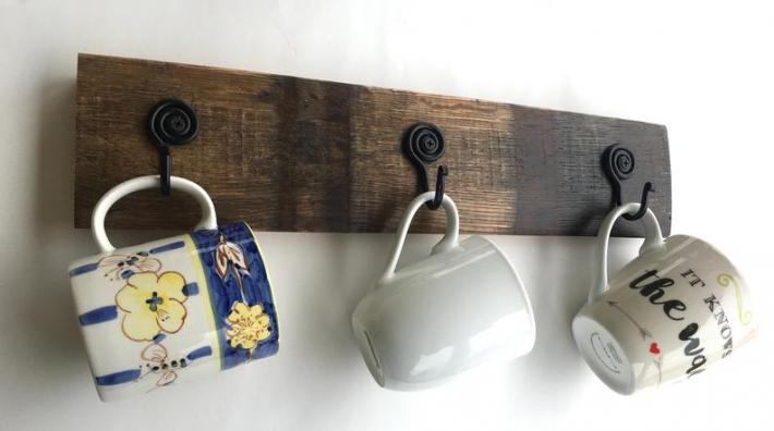 Barrel Stave Coffee Cup Display