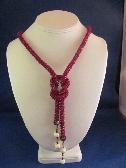 Dark red Kumihimo braid 2-way necklce.