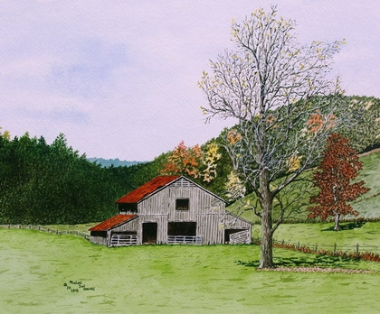 Original Watercolor of a Barn in Virginia