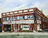 Shaver Motor Co Print from the O riginal Watercolor by Michael Joe Moore