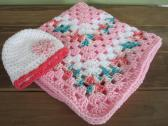 Crochet Granny Square pink white and pastels baby blanket with hat