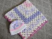 Crochet Granny Square lilac white and vericated colors baby blanket with hat