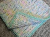 Crochet Vericated Baby Blanket with Hat 26 X 26