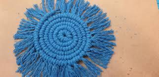 Macrame Coasters Blue set of 4