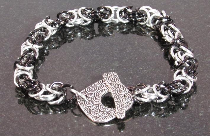 Black and Silver Chainmaille bracelet with Toggle clasp
