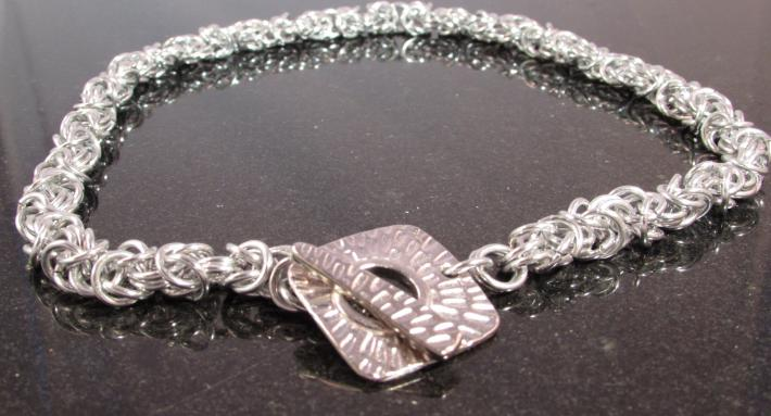 Silver Chainmaille Necklace with Toggle Clasp