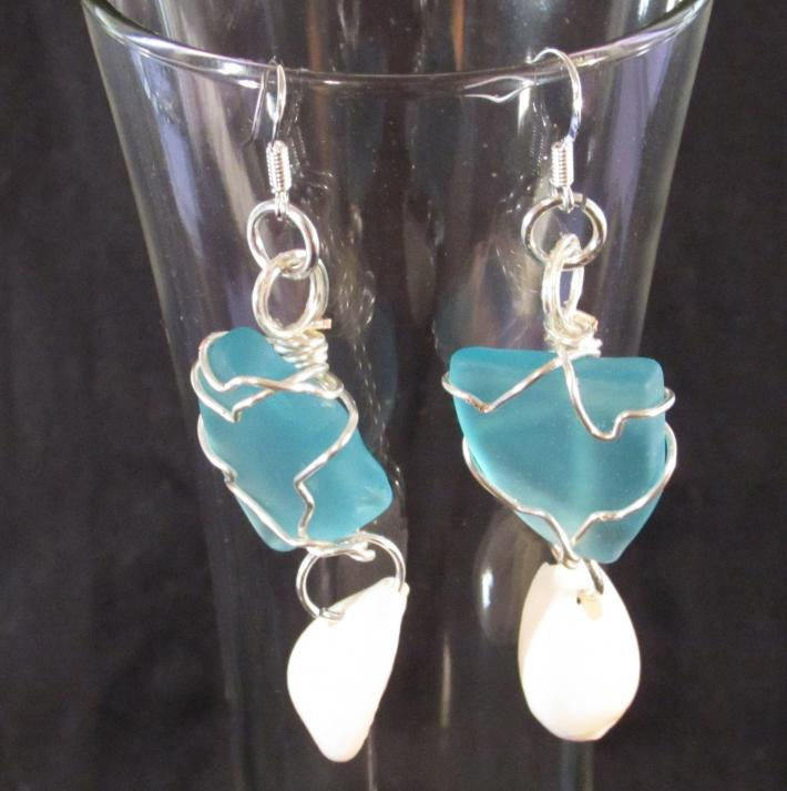 Blue Sea Glass and Sea Shell Earrings