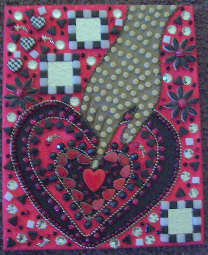 Mosaic Hand and Heart Beaded Painting