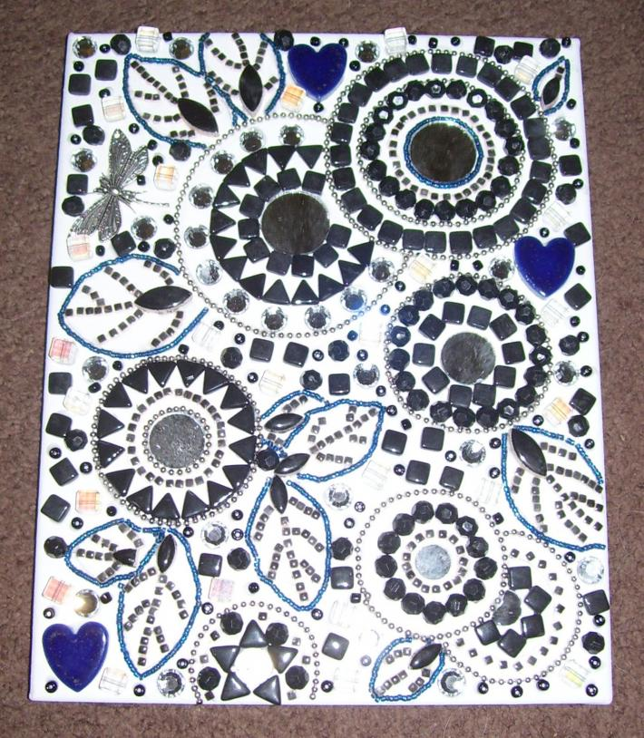 Mosaic Beaded Painting Black and White Circles Leaves Dragonfly Hearts