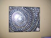 Mosaic Beaded Painting Black and White Spiral Mirrors