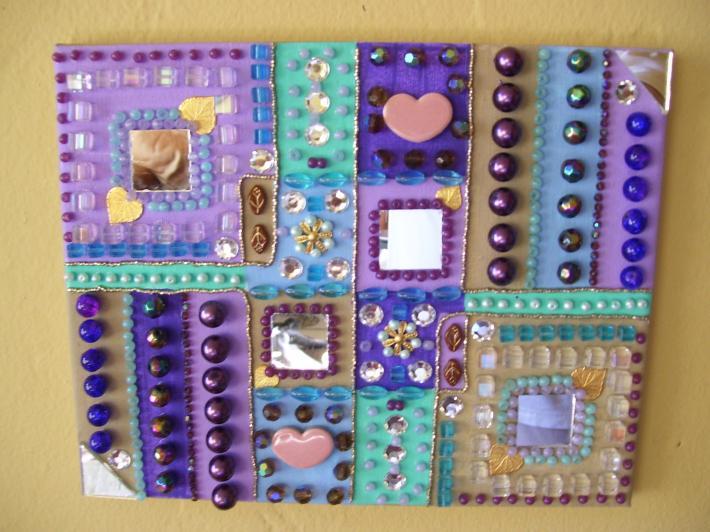 Mosaic Beaded Painting Squares Mirrors Hearts