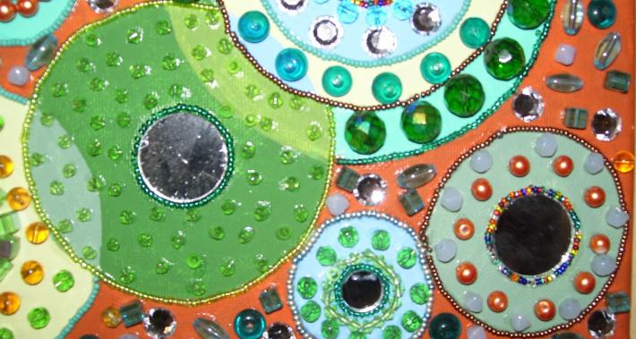 Mosaic Beaded Painting Terra Cotta orange green mirror circles abstract