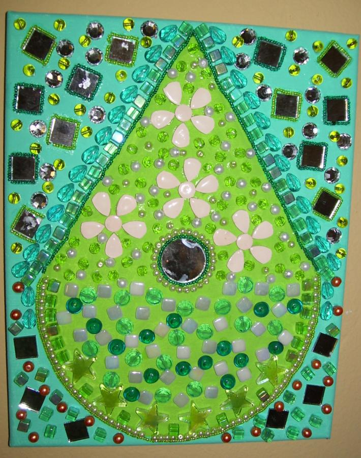 Mosaic Beaded Painting Birdhouse Green unusual wall art